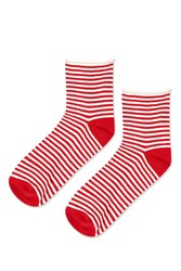 Topshop Stripe Roll Top Ankle Sock Red