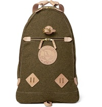 Yuketen Leather Trimmed Wool Felt Backpack Green