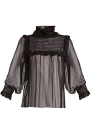 Gucci Ruffled Neck Chiffon Blouse Black