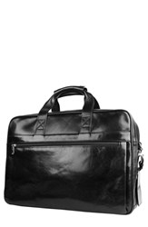 Bosca Men's Double Compartment Leather Briefcase Black