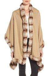 Badgley Mischka Women's Faux Fur Trim Wrap Camel Almond Fur