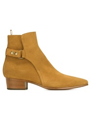Saint Laurent Almond Toe Boots Nude And Neutrals
