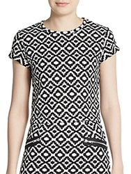 Saks Fifth Avenue Red Geometric Print Quilted Top Ivory Black