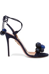 Aquazzura Disco Thing Pompom Embellished Suede Sandals Navy