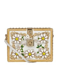 Dolce And Gabbana Daisy Embellished Padlock Box Clutch Female White