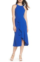 Charles Henry Flounce Hem Midi Dress Patriot Blue