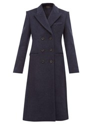 Isabel Marant Roleen Double Breasted Wool Blend Coat Navy