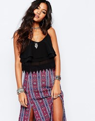 Glamorous Cropped Cami Top With Crochet Hem Black