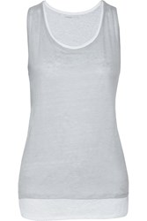 Majestic Layered Linen Tank Blue
