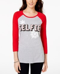 Pretty Rebellious Juniors' Selfie Graphic Baseball Tunic T Shirt Heather Grey Red