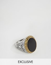 Reclaimed Vintage Black Stone Mixed Metal Ring Silver
