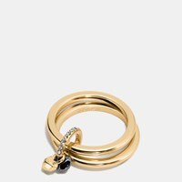 Coach Faceted Heart Ring Set Gold Black