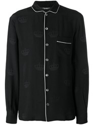 Dolce And Gabbana Contrast Piping Pyjama Top Black