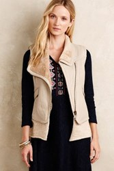 Anthropologie Leather Sherpa Vest Beige