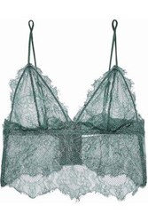 Anine Bing Woman Stretch Lace Soft Cup Bralette Emerald