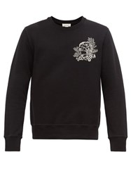 Alexander Mcqueen Skull Embroidered Cotton Jersey Sweatshirt Black Multi