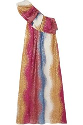 Stine Goya Net Sustain Janika One Shoulder Striped Sequined Silk Gown Pink