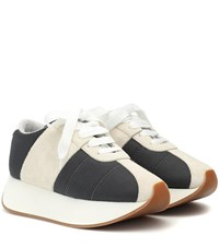 Marni Big Foot Mesh And Suede Sneakers Grey