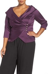 Alex Evenings Plus Size Women's Portrait Collar Wrap Blouse