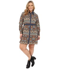 Roper Plus Size 9902 Aztec Printed Poplin Shirt Dress Brown Women's Dress