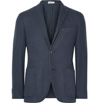 Boglioli Blue K Jacket Slim Fit Houndstooth Cotton And Silk Blend Blazer Storm Blue