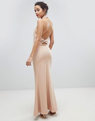 Jarlo High Neck Ruched Open Back Maxi Dress Pink
