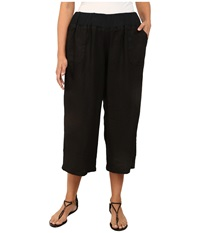 Allen Allen Plus Size Crop Pants W Rib Waist Black Women's Capri