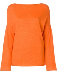 Liska Boat Neck Jumper Yellow And Orange