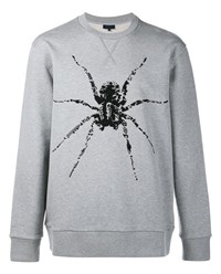 Lanvin Spider Print Bead Embellished Sweater Grey Black Denim