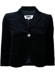 Maison Martin Margiela Mm6 Cropped Velvet Jacket Black