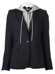 Veronica Beard Zip Up Hooded Blazer Blue