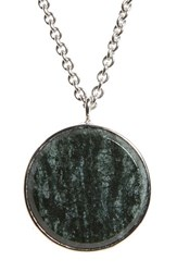 Tom Wood Women's Green Marble Medallion Necklace Silver Green
