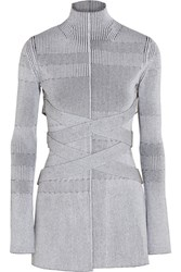 Proenza Schouler Plated Knit Turtleneck Sweater White