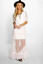 Boohoo Lilly All Over Crochet Lace Maxi Dress Ivory