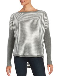 Lord And Taylor Striped Cashmere Sweater Pewter Heather