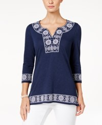 Charter Club Cotton Embroidered Peasant Top Only At Macy's Intrepid Blue