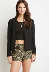 Forever 21 Metallic Embroidered Tapestry Shorts Black Gold
