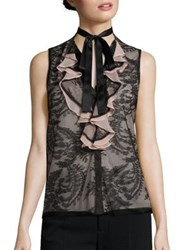 Nanette Lepore All Or Nothing Lace Tie Neck Blouse Black