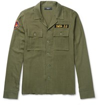 Amiri Appliqued Herringbone Cotton And Cashmere Blend Overshirt Army Green