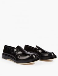 Adieu Black Cut Out Leather Loafers