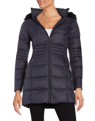 French Connection Faux Fur Trimmed Hooded Puffer Coat Utility Blue
