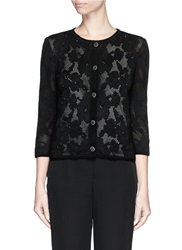 St. John Engineered Floral Lace Cardigan Black