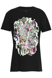 Versus By Versace Printed Cotton Jersey T Shirt Black