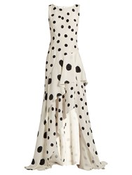 Oscar De La Renta Polka Dot Print Ruffled Silk Gown Black White