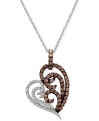 Le Vian Chocolatier Diamond Heart Pendant Necklace 3 4 Ct. T.W. In 14K White Gold