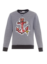Red Valentino Anchor Embellished Striped Sweatshirt