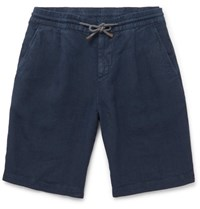 Brunello Cucinelli Linen Drawstring Shorts Navy