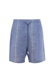 Vilebrequin Bolide Striped Linen Blend Shorts Blue