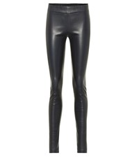 The Row Leather Skinny Pants Blue
