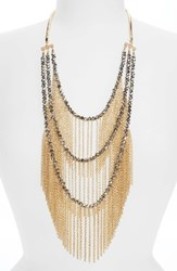 Natasha Couture Women's Multistrand Chain Fringe Necklace